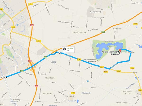 Route Apeldoorn Bussloo via A1