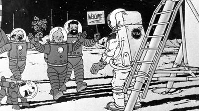 Neil Armstrong in de voetsporen van Kuifje